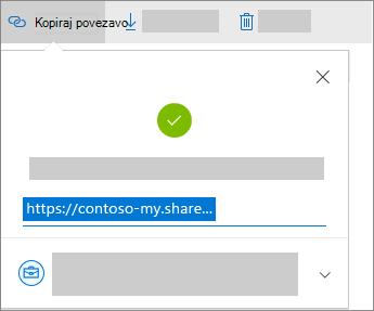 Posnetek zaslona pogovornega okna za kopiranje povezave