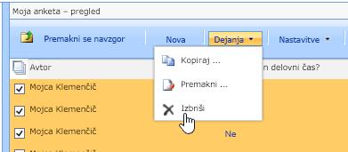 V možnostih gumba »Dejanja« kliknite »Izbriši«, če želite izbrisati izbrane podatke