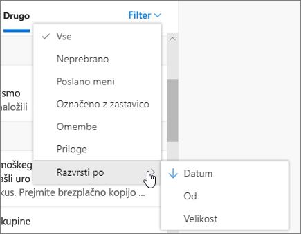 Filtriranje e-pošte v Outlooku v spletu