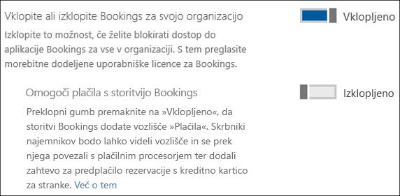 Posnetek zaslona: Prikazuje skrbniški kontrolnik za Bookings na strani »Storitve in dodatki«