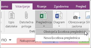 Posnetek zaslona gumba »Vstavi preglednico« v programu OneNote 2016.