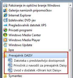 Meni »Start« z datotekami »Daisy« po namestitvi