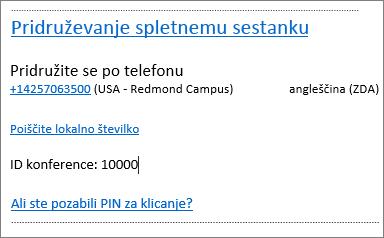 Outlook Web App, informacije o pridružitvi spletnemu srečanju v zahtevi za srečanje