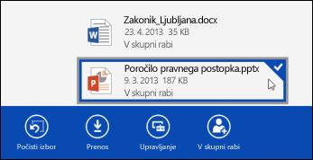 Izbrana datoteka v storitvi OneDrive za podjetja