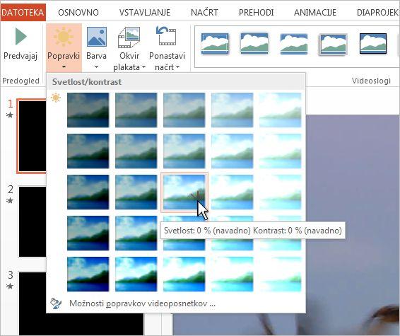 Prilagajanje svetlosti in kontrasta videoposnetka