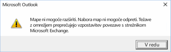 Napaka v programu Outlook 2016 – mape ni mogoče razširiti