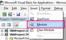 V meniju Vstavljanje kliknite modul.