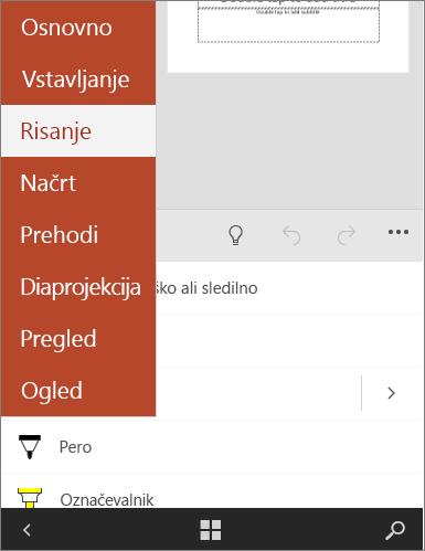 Pokaže zavihek »Risanje« v storitvi Office Mobile.