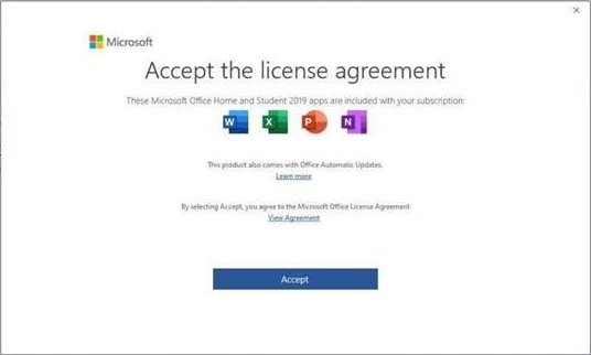 Licenčna pogodba za končnega uporabnika za Microsoft Office 2019.