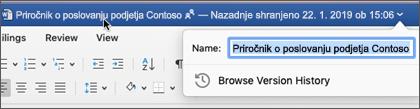 Če kliknete naslov dokumenta, lahko preimenujete datoteko ali si ogledate zgodovino različic