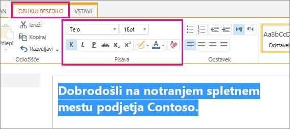 Uporabite kontrolnike za pisavo na vrhu strani, da uredite pozdravno sporočilo