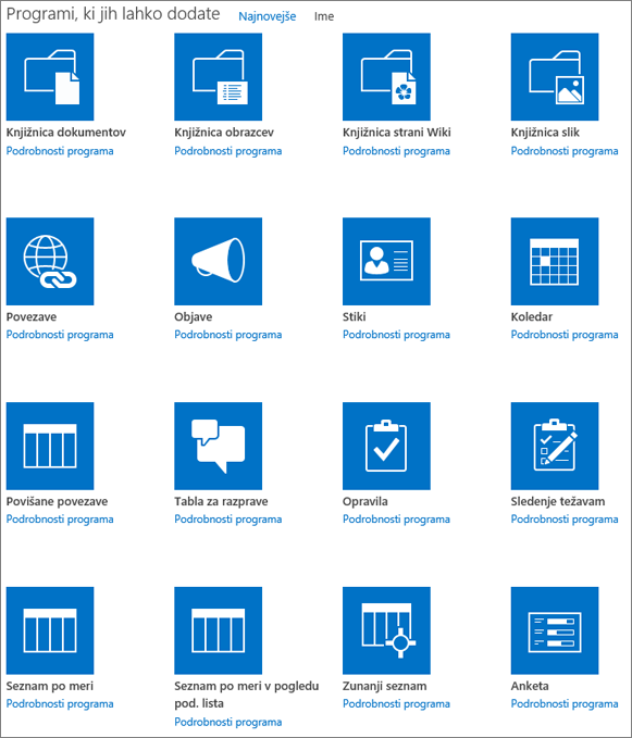 Posnetek zaslona prvega zaslona na strani »Vaše aplikacije«