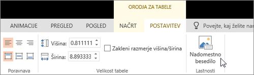 Posnetek zaslona, na katerem je prikazan zavihek »Orodja za tabele – Načrt« s kazalcem, ki kaže na možnost »Nadomestno besedilo«.