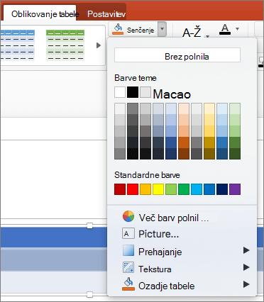 Posnetek zaslona pokaže zavihek načrta tabele, kjer je izbrana možnost senčenje spustno puščico za prikaz na voljo možnosti, vključno z brez polnila barve teme, standardne barve, več barv polnila, sliko, preliv, teksturo in ozadje tabele.