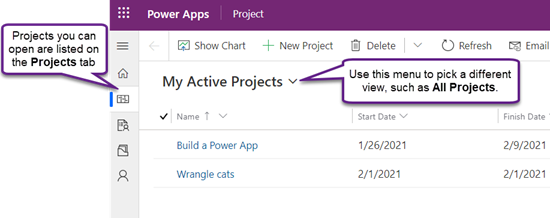 Zavihek» projekti «v programu Project Power, ki prikazuje pogled» moji aktivni projekti «