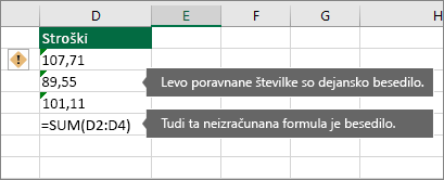 Celice s števili, shranjenimi kot besedilo, z zelenimi trikotniki