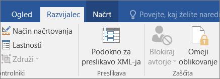 Na zavihku razvijalec v skupini zaščiti kliknite omeji urejanje