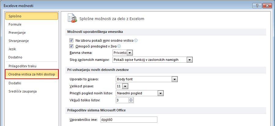 Click the Quick Access Toolbar.