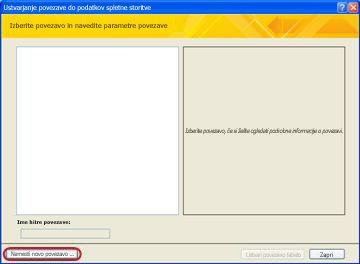 Namestitev podatkovne povezave spletne storitve
