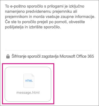 Pregledovalnik za šifrirana sporočila v storitvi Office 365 za aplikacijo Mail (Pošta) sistema iOS 1