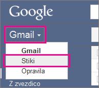 Google Gmail – kliknite »Stiki«