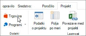 Posnetek zaslona odseka »projekt« na traku s kazalcem, ki kaže, da v trgovini. Izberite shranjevanje, da se v trgovini Office in poiščite dodatkov za projekt.