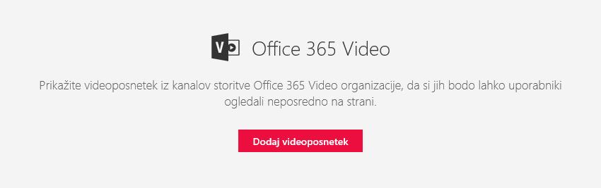Posnetek zaslona s pogovornim oknom za dodajanje videoposnetka v storitvi Office 365 v SharePointu.