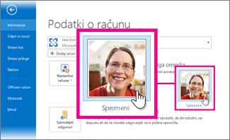 Spreminjanje fotografije za Office iz Outlooka
