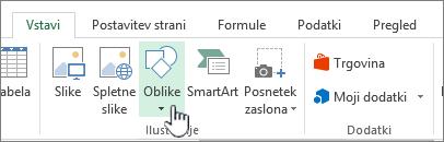 Slika gumba za vstavljanje oblik v Excelu