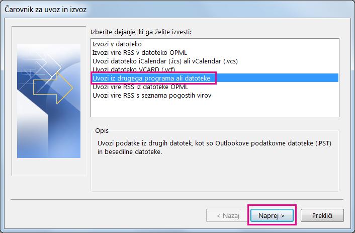 Izberite uvoz iz drugega programa ali datoteke.