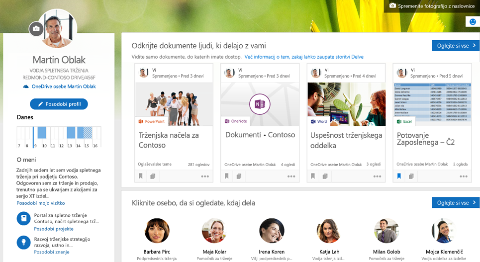 Dostop do službenega računa na strani profila