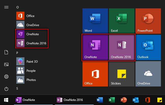 Posnetek zaslona, na katerem sta v meniju Start« sistema Windows prikazana OneNote in OneNote 2016.