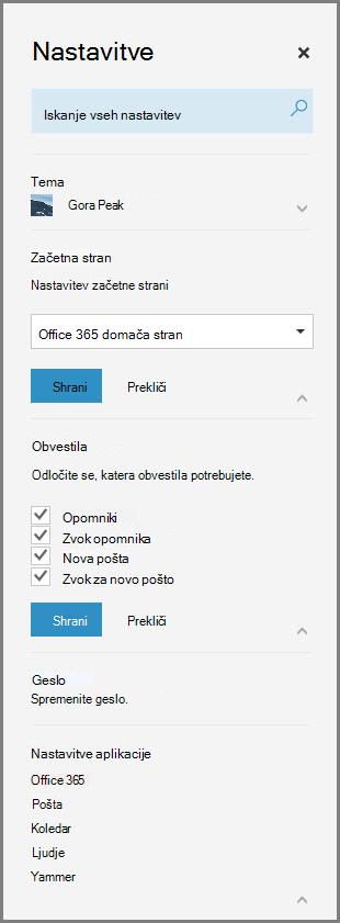 Obvestila storitve Office 365