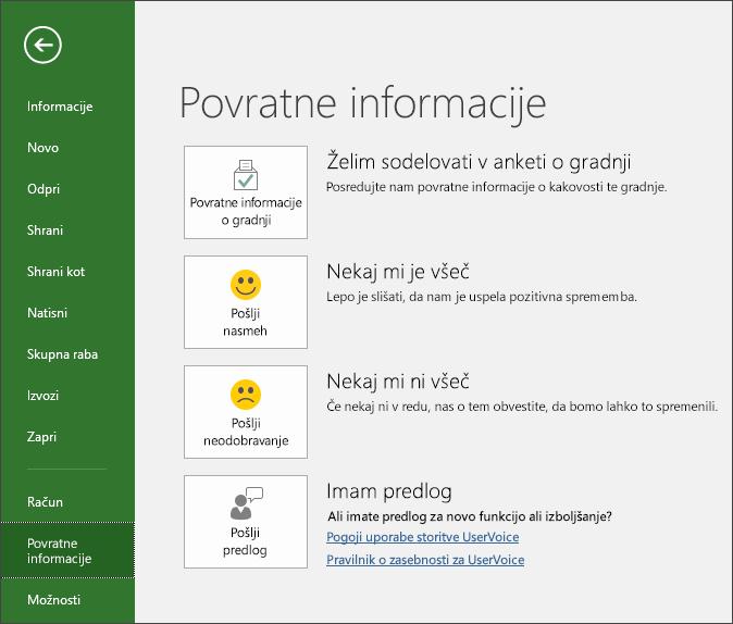 Kliknite »Datoteka« > »Povratne informacije«, da pošljete komentarje in predloge za Microsoft Project