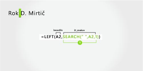 Formula za ločevanje imena in priimka in srednje inicialke