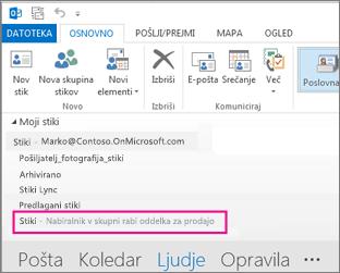 Seznam stikov v skupni rabi se prikaže v podoknu stikov v Outlooku