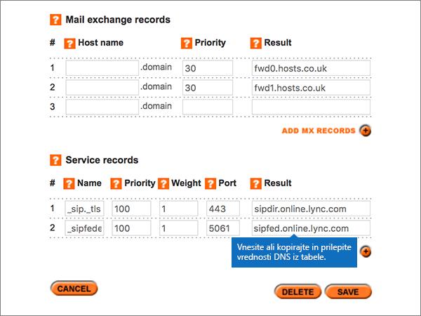 Vnašanje vrednosti v razdelku storitev zapisov