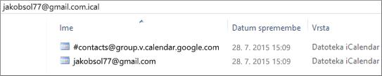 Slika, kako je videti po razširitvi izvoženega koledarja.