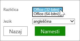 Izberite 32-bitno ali 64-bitno različico