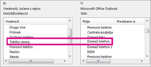 Preslikava polj datoteke za uvoz v Outlookova polja