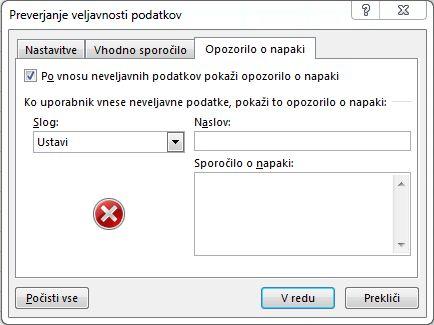 Vnesite sporočilo, ki ga želite prikazati, če spustni seznam v Excelu ne bi deloval pravilno