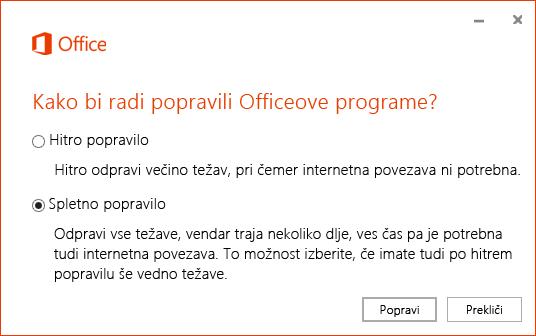 Pogovorno okno »Popravilo Officea« pri popravilu programa za sinhronizacijo storitve OneDrive za podjetja
