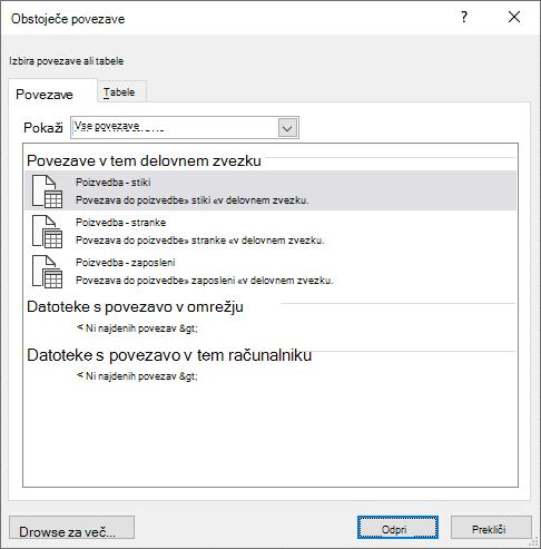 Pogovorno okno» obstoječi Connectios «v Excelu prikaže seznam virov podatkov, ki so trenutno v uporabi v delovnem zvezku.