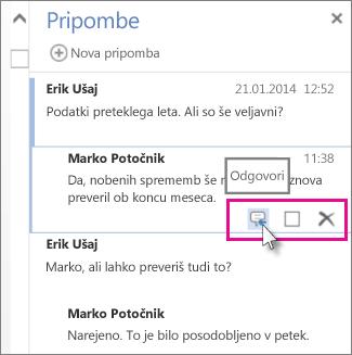 Slika ukaza »Odgovor« pod podoknom »Pripombe« v programu Word Web App.