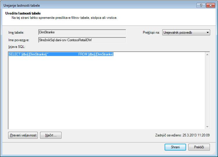 Poizvedba SQL, ki uporablja privzeto, krajšo sintakso