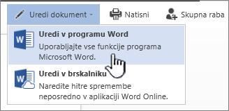 Wordov dokument, odprt v SharePointovi knjižnici, z označeno možnostjo »Uredi v Wordu«