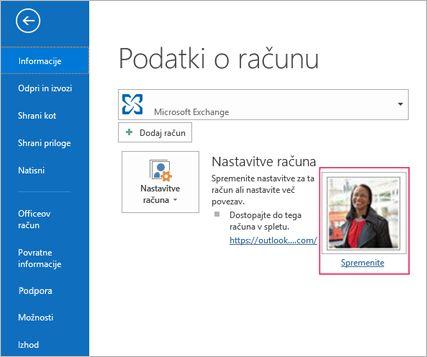 Spreminjanje povezave s fotografijami v Outlooku