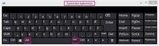 Zaslonska tipkovnica sistema Windows 8 s tipkami Alt