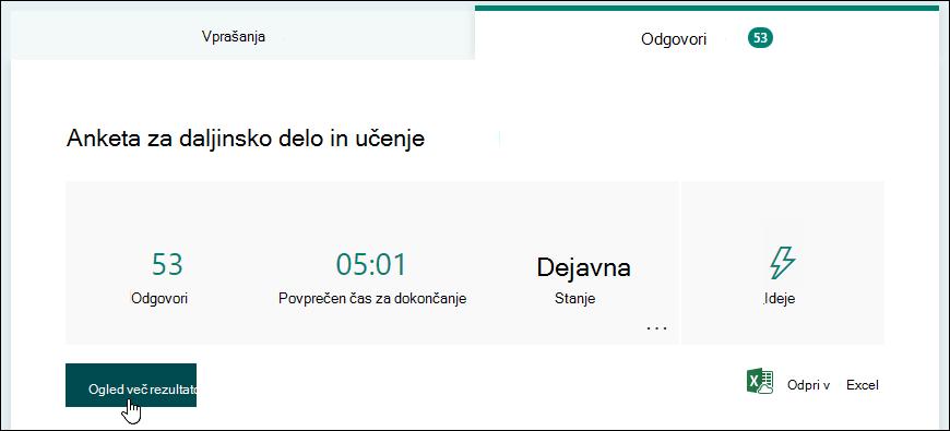 Gumb» ogled rezultatov «na zavihku» odgovori «v obrazcu v obrazcih Microsoft Forms