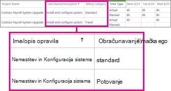Dve vrstici časovnega lista z različnima kategorijama